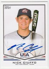 2011 Topps USA Baseball Nick Ciuffo Rookie Auto RC Autograph #USA-A26 RAYS