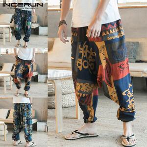 INCERUN Mens Harem Pants Yoga Floral Party Baggy Hippy Harem Beach Long Trousers