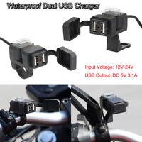 Dual Chargeur Prise USB Moto Guidon Interrupteur Supports Étanche Pour Phone GPS