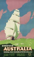 Vintage Travel Poster Discover Australia 39.3 x 24 inch