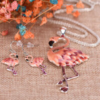 Pendant Flamingo Necklace Earrings Set choker New Fashion Women Jewelry Set、XBUK