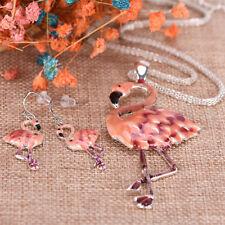 Pendant Flamingo Necklace Earrings Set choker New Fashion Women Jewelry Set LL
