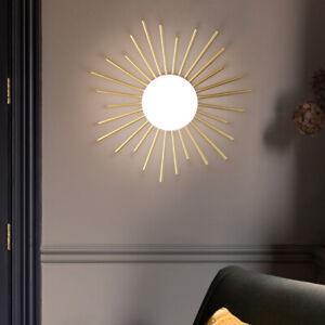 Brass Gold Sun Bar Mini White Glass Globe LED G9 Entrance Ceiling Flush Mount