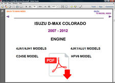 ISUZU DMAX COLORADO 2007 - 2012 ULTIMATE FACTORY SERVICE REPAIR WORKSHOP MANUAL