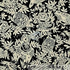 BonEful FABRIC FQ Cotton Quilt Black Tan Leaf Jungle Safari Animal Monkey Owl Sm