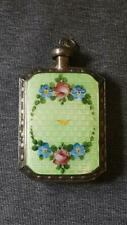 Fine Sterling Silver Green Double Sided Guilloche Antique Perfume scent Bottle