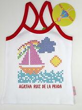 AGATHA RUIZ DE LA PRADA DEBARDEUR BLANC AVEC BÂTEAU 6 ANS NEUF
