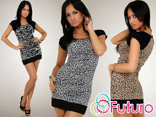 Sexy Mini Dress Animal Pattern Bodycon Tunic Style Square Neck Size 8-12 8024