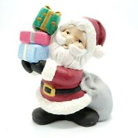 "Vintage Ceramic Santa Claus Figurine Holding Gifts 5.5"" Tall"