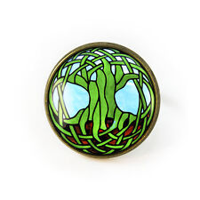 Tree of Life Celtic Irish Stained Glass Art Design Antique Bronze Glass Ring