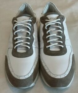 FLORSHEIM IMPERIAL Leather & Suede Lace-up Trainers Shoes White uk 8 eu 42