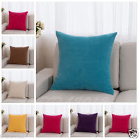 18x18 Soft Velvet Throw Solid Waist Pillow Case Cushion Cover Home Sofa Decor A