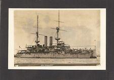 REAL-PHOTO POSTCARD:  HMS RAMILLIES - BRITISH NAVY PRE-DREADNOUGHT BATTLESHIP