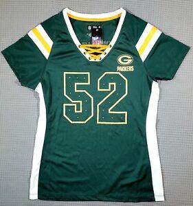 Green Bay Packers Football #52 Clay Matthews Shirt Jersey Womens Med Bling! NWT