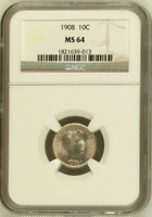 :1908-P 1OC LIBERTY-HEAD OR BARBER DIME RARE NGC MS-64 LOW-POP HIGHEST-GRADES