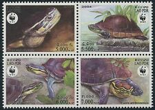 LAOS N°1551/1554** Tortue boite, WWF, 2004 Box turtle Sc#1625 block of 4 MNH