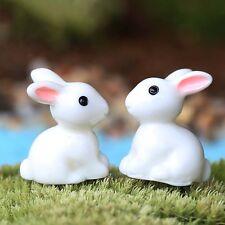 2Pcs Miniature Fairy Garden Craft White Rabbit Doll For Diy Micro Landscape Us