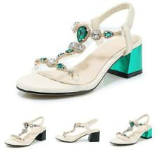 Womens Sandals Shoes Rhinestone Slingback Slip on Open Toe Block Roma Casual New