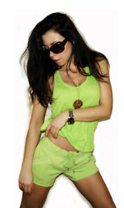 """NEW! """"Victoria's Secret"""" Green Color Soft Gym Sports Casual Shorts XS"""