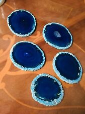 Five Of Blue Agate Wine Tea Coffee Dyed Slice Gemstone Mat