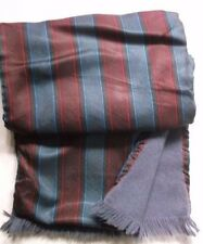 VINTAGE SCARF THINLY LINED RETRO MOD 1970s MOD BURGUNDY GREY STRIPED WOOL