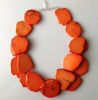 Orange turquoise necklace double strands stone blue bib statement necklace