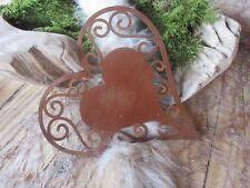 Edelrost Herz zum hängen filigran Dekoration Garten Terrasse Türkranz Aufhänger