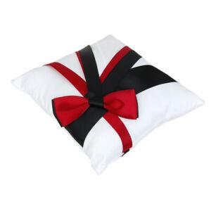 Wedding White Satin   Pillow Cushion Flower Basket Set Black Red Bowknot