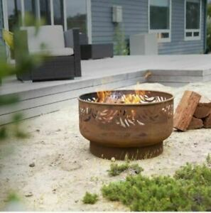 GLOW Firepit Fire Pit Ironbark Large Rustic Round Rust Finish Steel Outdoor