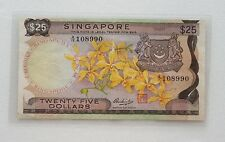 Rare $25 ORCHID SERIES A1 Twenty Five Dollars, Singapore Bank Notes, 1st series