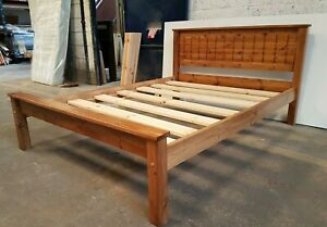 bespoke pine bed in oak finish  comes with extra strong bed slats