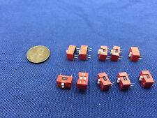 10 pcs Slide Type Switch 2-Bit 2.54mm 2 Position DIP Red Pitch 10x b7