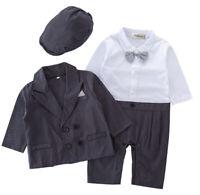 StylesILove Baby Boy Formal Wear Tuxedo Romper, Jacket, Hat 3pcs Outfit, 3M-24M