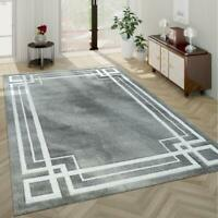 Modern Pattern Rug Grey and White Border Design Room Mat Hall Carpet Small Large
