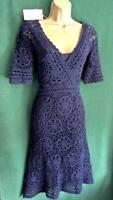 New MONSOON Navy Blue HELEN Crochet Knit Boho Shift Dress 'MEDIUM' Uk 10 12 Rare