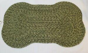 "Primitive country Green DOG BONE Shaped Rug floor mat 20""x12"" 100% Cotton"
