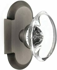Nostalgic Warehouse Cottage Plate with Oval Clear Crystal Glass Door Knobs,2.375
