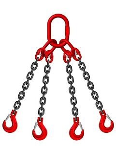8mm 4 Leg Lifting Chain Sling EWL 2 MTR 4.25 ton Clevis Sing Hook ID Cert