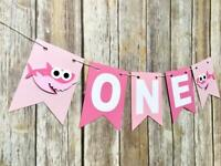 PINK BABY SHARK BANNER HAPPY BIRTHDAY BUNTING PARTY LOLLY LOOT DECORATION