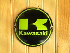 "KAWASAKI PORCELAIN SIGN ~4-3/4"" MOTORCYCLES OIL BIKE GAS VULCAN NINJA ZXR GARAGE"