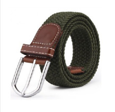 Black Men's Stretch Braided Elastic Woven Canvas Belt Waistband Waist Straps