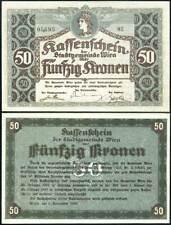 AUSTRIA 50 KRONEN VIENNA 1918 P NL UNC