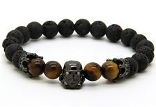 Mens Star Wars Darth Vader Beaded Bracelet 8mm Stone Beads Tiger Eye LIMITED