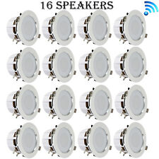 4'' Bluetooth Ceiling/Wall Speakers, (16) 2-Way Speakers with Built-in LED Light