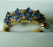 Nigerian Blue Sapphire and Diamond Cluster Ring