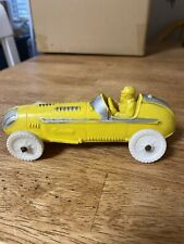Vtg Auburn Indiana Rubber Toy Race Car Yellow