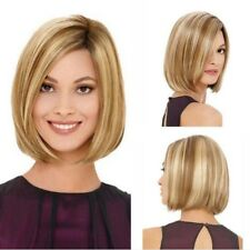 Short Straight Blonde Bob Hair Dark Roots Synthetic Side Part Wig