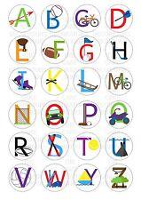 24 Sport Alphabet Wafer / Rice Cupcake Topper Edible Fairy Cake Bun Toppers