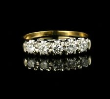 VINTAGE ROUND NATURAL 1/2ctw DIAMOND 14K GOLD FIVE STONE ANNIVERSARY BAND RING