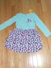 "NWT -  Gymboree ""Mix n Match"" long sleeved teal pocket hearts dress - 5T girls"